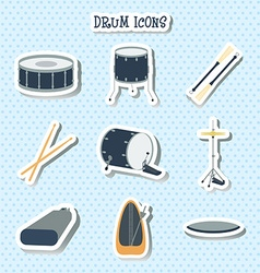 Drum icons Stickers Flat design vector