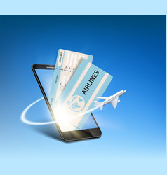 e-ticket on smartphone screen vector image