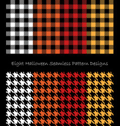 Eight halloween seamless pattern design collection vector