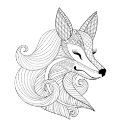 entangle fox face in monochrome doodle style hand vector image