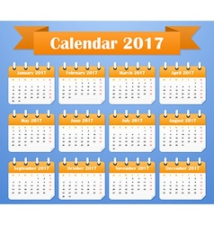 European calendar for 2017 week starts on monday vector