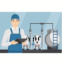 farmer with tablet on a modern dairy farm vector image