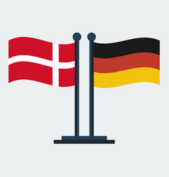 flag of denmark and germany flag stand vector image