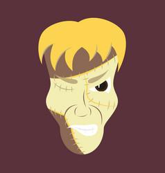 Flat cartoon evil frankenstein head vector