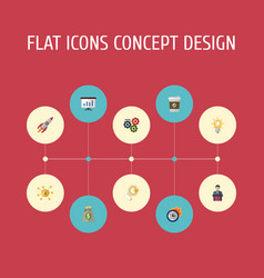 flat icons rocket coin businessman and other vector image