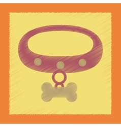 Flat shading style icon dog collar vector