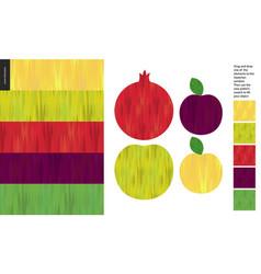 food patterns fruit apple pomegranate plum vector image