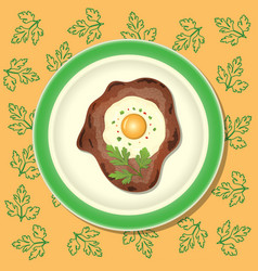 Fried meat with egg and parsley on the plate vector