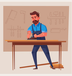 Funny carpenter is working vector