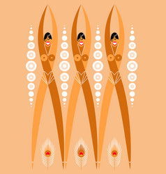 Girls flappers from 1920s stylized a vector