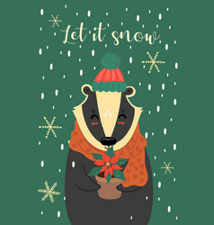 greeting card with a cute christmas badger vector image