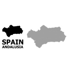 Halftone pattern and solid map andalusia vector
