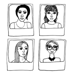 Hand draw frame portraits of the girls vector