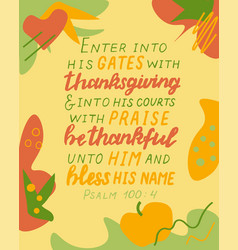 Hand lettering with thanksgiving and into his vector