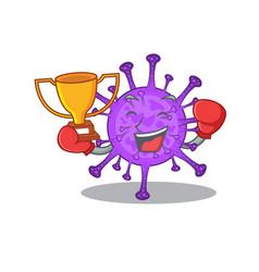 Happy face boxing winner bovine coronavirus vector