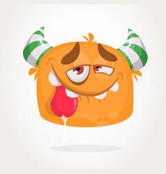 happy orange cartoon horned monster vector image