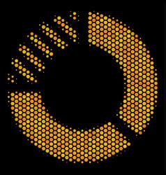 Hexagon halftone pie chart icon vector