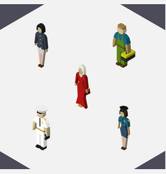 isometric people set of plumber female girl and vector image