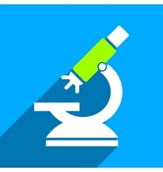 Labs microscope flat square icon with long shadow vector