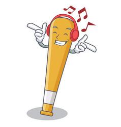 Listening music baseball bat character cartoon vector