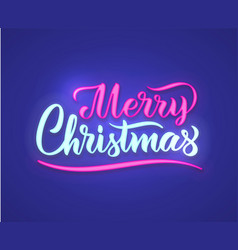 merry christmas neon text neon glowing signboard vector image
