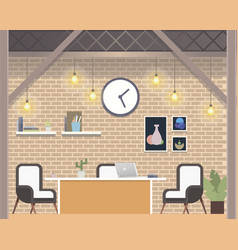 modern freelance coworking workplace loft style vector image