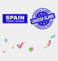 Mosaic tools canary islands map and scratched vector