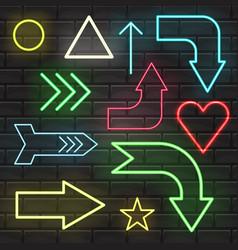 neon sign arrow pointer bright signboard light vector image