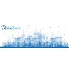 Outline khartoum sudan city skyline with blue vector