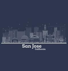 outline san jose california city skyline vector image