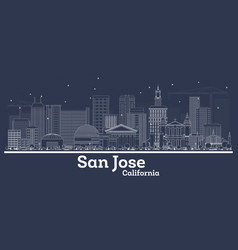 outline san jose california city skyline with vector image