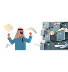 Overworked arab businessman searching documents in vector