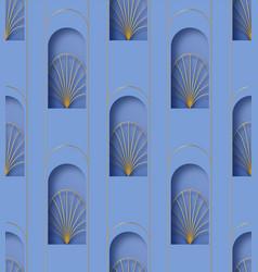 Paper cut art deco retro gold seamless pattern vector