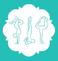 Pilates fitnes yoga line silhouettes set vector