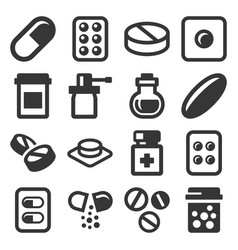 Pills drugs and capsules icons set vector
