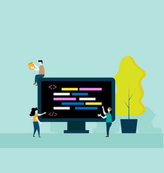 programming concept people brainstorm for coding vector image