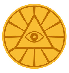 Pyramid eye gold coin vector