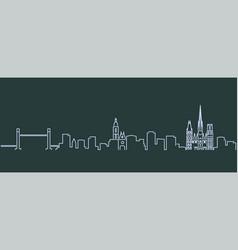 Rouen single line skyline profile vector