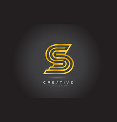 s gold letter monogram logo design modern s vector image