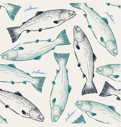 salmonseamless pattern sketch vector image