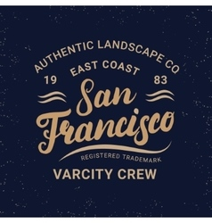 San Francisco hand written lettering for label vector