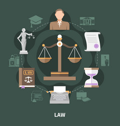 Scale of justice round composition vector