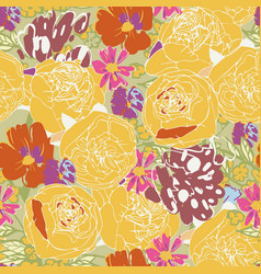 Seamless floral pattern with flowers pink vector