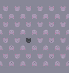 seamless pattern - cartoon white pink kittens and vector image