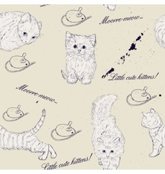 Seamless texture with kittens vector image