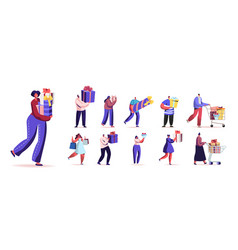 set people carry wrapped gift boxes male vector image