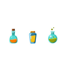Small glass bottles of poison game assets vector