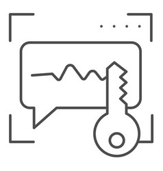 Sound recognition and key thin line icon voice vector