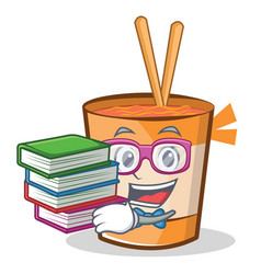 Student with book cup noodles character cartoon vector