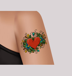Tattoo on shoulder heart decorated with flowers vector